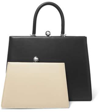 Ratio et Motus - Twin Frame Two-tone Leather Tote - Black