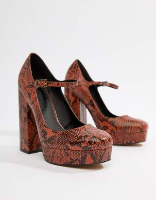 Asos Design DESIGN Positive platform heels in snake