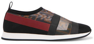 Fendi Colibrì Logo-print Mesh And Rubber Slip-on Sneakers - Black