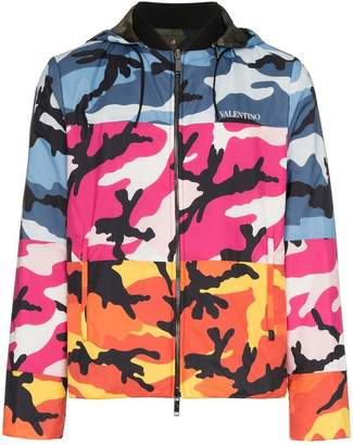 Valentino reversible zipped camo hoodie