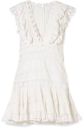 Zimmermann Wayfarer Ruffled Crochet-trimmed Linen Mini Dress - Off-white