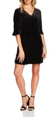 Women's Cece Kate Ruffle Velvet Shift Dress $128 thestylecure.com