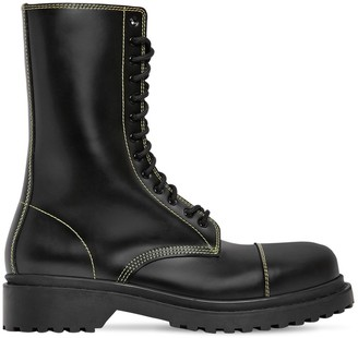 Balenciaga Amphibia Leather Boots W/ Stitching