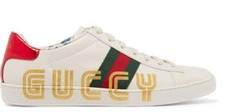 Gucci Ace Metallic Watersnake-trimmed Logo-print Leather Sneakers - White