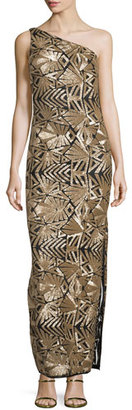 Laundry By Shelli Segal One-Shoulder Sequined Gown, Gold $795 thestylecure.com
