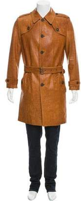 Burberry Belted Leather Trenchcoat