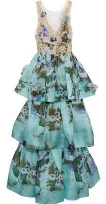 Marchesa Tiered Embellished Floral-Print Silk-Organza Gown