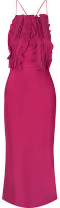 Jason Wu Collection - Ruffled Silk Crepon-trimmed Satin Midi Dress - Red