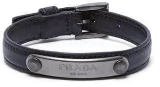 Prada Logo Plaque Saffiano Leather Bracelet - Mens - Black