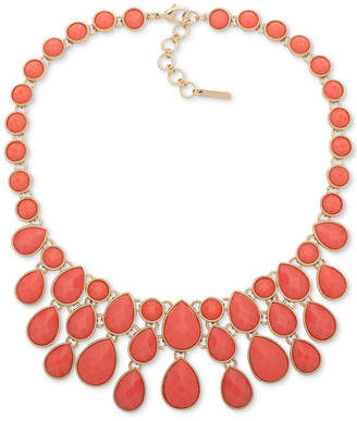 "Nine West Gold-Tone Colored Stone Statement Necklace, 16"" + 3"" extender"