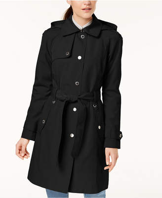 London Fog Hooded Snap-Front Trench Coat