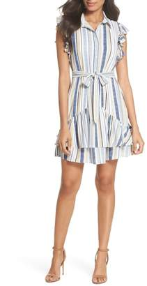 Julia Jordan Stripe Ruffle Shirtdress