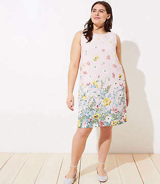 LOFT Plus Border Floral Shift Dress