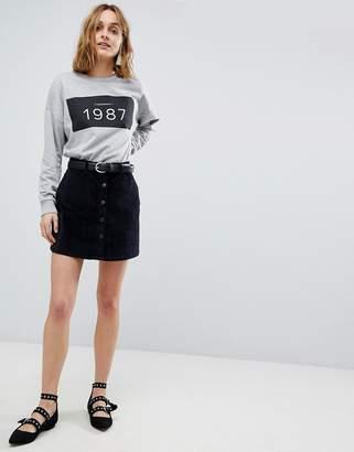 Vero Moda Button Through Velvet Skirt