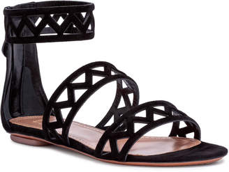 Alaia Black suede laser-cut flat sandals