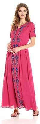Ella Moon Women's Dawn Short Sleeve Center Embroidered Maxi Dress