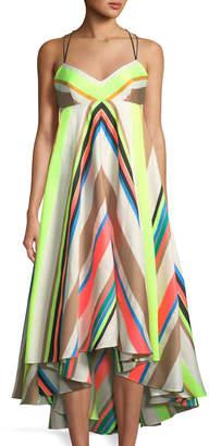 Milly Striped-Linen Trapeze Dress