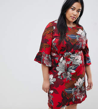 Junarose floral fluted sleeve dress
