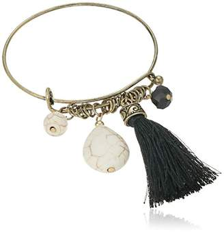 Cara Wire Bangle with Tassel Charm Bracelet