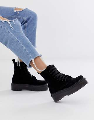 Office Atomize black suede flat ankle boot