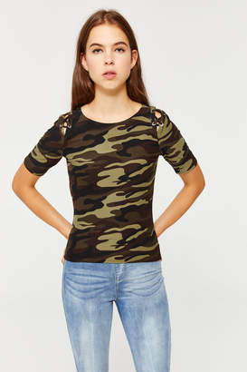 Ardene Camo Laced Cold Shoulder Tee