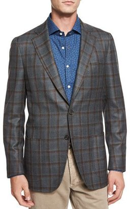Isaia Windowpane Two-Button Sport Coat, Green $2,995 thestylecure.com