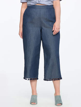 ELOQUII Tassel Hem Cropped Jeans
