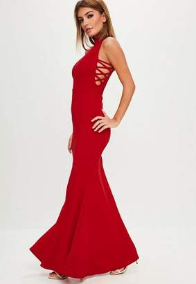 Missguided Red High Neck Criss Cross Side Maxi Dress