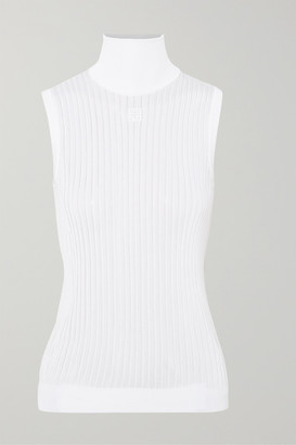Givenchy Embroidered Ribbed Knitted Turtleneck Top