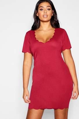 1447a2f1 boohoo Plus Scallop Edge Bodycon Dress
