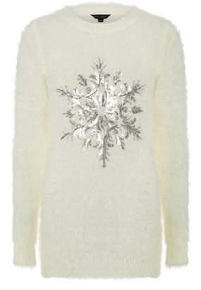 Dorothy Perkins Womens Ivory Fluffy Snowflake Jumper