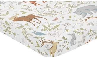 JoJo Designs Sweet Woodland Toile Animal Print Fitted Mini Crib Sheet