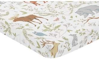 JoJo Designs Sweet Woodland Toile Animal Print Fitted Mini Crib Sheet