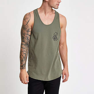 River Island Dark green slim fit racer back tank