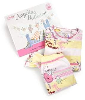 Angelina Ballerina Books To Bed Toddler's& Little Girl's 25th Anniversary Pajamas& Book Set