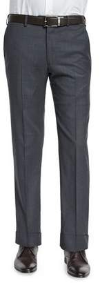 Armani Collezioni Basic Flat-Front Wool Trousers, Charcoal