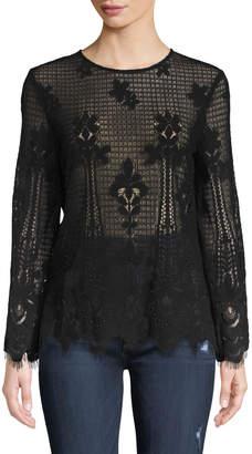 Anna Cai Studded-Lace Long-Sleeve Blouse