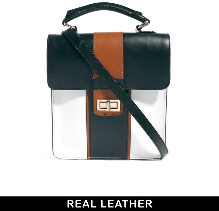 ASOS Leather Top Handle Bag In Colour Block - Multi