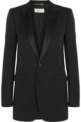 Saint Laurent - Satin-trimmed Wool Tuxedo Blazer - Black $3,505 thestylecure.com