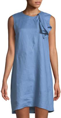 Neiman Marcus Bow-Neck Linen Shift Dress