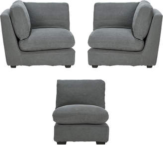 OKA Savile Sofa Chair and Corner Unit Set - Charcoal