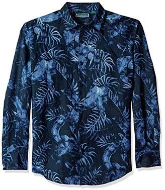 Cubavera Men's Long Sleeve 100% Linen Tropical Print Button-Down Shirt