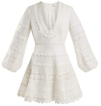 Zimmermann Castile Crochet Trimmed Linen Dress - Womens - Ivory