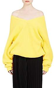 Balenciaga Women's Oversized Shaker-Stitched Cotton-Blend V-Neck Sweater - Yellow