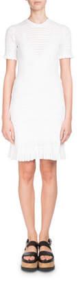 Kenzo Short-Sleeve High-Neck Knit Dress with Flared Hem
