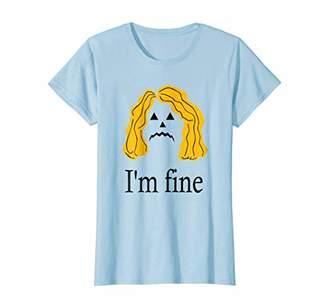 Womens Halloween T-shirt for women sad Pumpkin face I'm fine