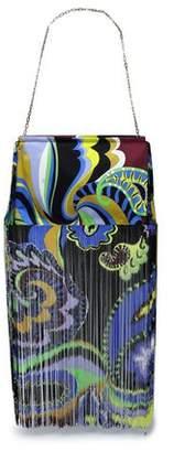 Emilio Pucci Fringed Printed Twill Shoulder Bag