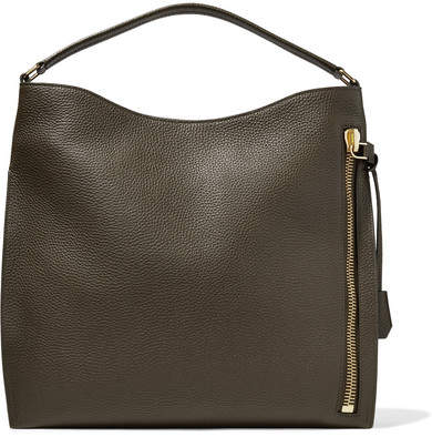 TOM FORD - Alix Large Textured-leather Tote - Army green