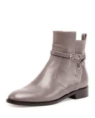 Balenciaga Ankle-Strap Flat Ankle Boot, Gris Acier $995 thestylecure.com