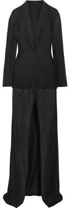 La Perla Stretch-silk Chiffon And Neoprene Robe - Black